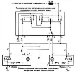 Схема принципиальна подключения зеркал